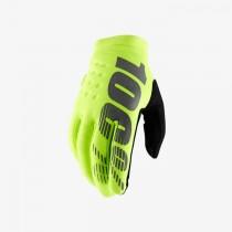 100% brisker mtb fietshandschoen fluo geel