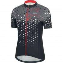 Gore C3 dames fietsshirt met korte mouwen zwart hibiscus roze (100454)