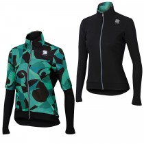Sportful primavera swith thermal dames fietsjack zwart blauw