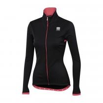 Sportful luna softshell dames fietsjack zwart roze