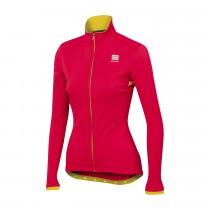 Sportful luna softshell dames fietsjack roze fluo geel