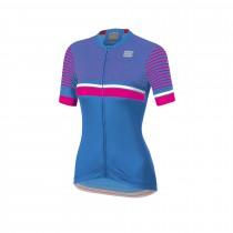 Sportful diva 2 dames fietsshirt met korte mouwen parrot blauw bubblegum roze wit