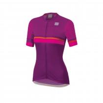 Sportful diva 2 dames fietsshirt met korte mouwen victorian paars bubblegum roze oranje sdr