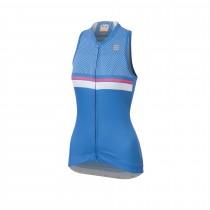 Sportful diva 2 dames fietsshirt zonder mouwen parrot blauw bubblegum roze wit