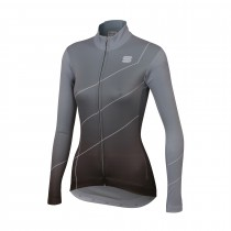 Sportful shade dames fietsshirt met lange mouwen cement grijs zwart