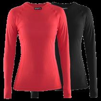 Craft active dames ondershirt met lange mouwen zwart en beam rood 2-pack