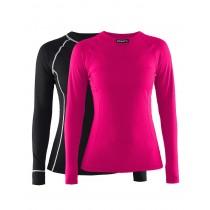 Craft active dames ondershirt met lange mouwen zwart en fantasy roze 2-pack