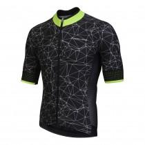 Nalini naranco fietsshirt met korte mouwen zwart wit fluo groen