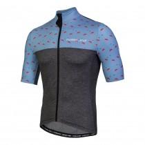 Nalini centenario fietsshirt met korte mouwen grijs flamingo print blauw