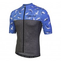 Nalini centenario fietsshirt met korte mouwen zwart haai print blauw