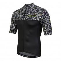 Nalini centenario fietsshirt met korte mouwen zwart wit print