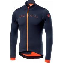 Castelli fondo fietsshirt met lange mouwen donker steel blauw oranje
