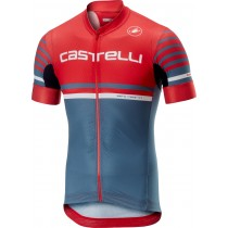 Castelli free ar 4.1 fietsshirt met korte mouwen rood licht steel blauw