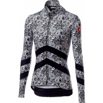 Castelli goccia dames fietsshirt met lange mouwen zwart wit