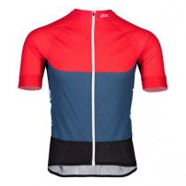 Poc essential road light fietsshirt met korte mouwen lead blauw prismane rood
