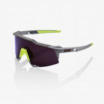 100% speedcraft fietsbril soft tact midnight mauve grijs - purple lens