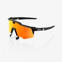 100% speedcraft air fietsbril zwart - hiper red mirror lens