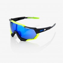 100% bril Speedtrap polished black / neon yellow - electric blue mirror
