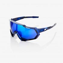 100% bril Speedtrap polished translucent blue - electric blue mirror lens
