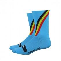 Defeet aireator high-top fietssok blauw Belgisch kampioen
