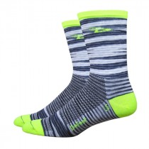 "DEFEET Sock Aireator 5"" Urban Grey Hi Vis Yellow"