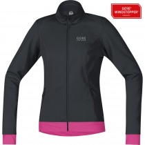 Gore bike wear element windstopper soft shell dames fietsjack zwart roze