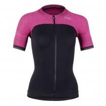 Uyn alpha dames fietsshirt met korte mouwen blackboard zwart slush roze