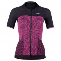 Uyn alpha dames fietsshirt met korte mouwen slush roze charcoal zwart