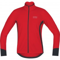 Gore bike wear power thermo fietsshirt lange mouwen rood zwart