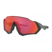 Oakley flight jacket fietsbril mat steel - prizm trail torch lens
