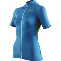 X-Bionic the trick biking dames fietsshirt met korte mouwen ocean blauw geel