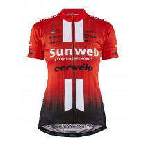 Craft team Sunweb replica dames fietsshirt met korte mouwen sunweb rood
