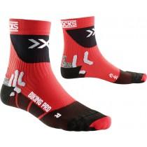 X-Socks biking pro fietssok rood zwart