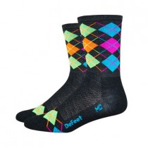 DEFEET Sock Wooleator Charcoal Hi-Viz Orange Process Blue