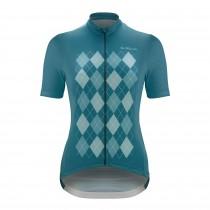 De Marchi aria dames fietsshirt met korte mouwen aqua blauw