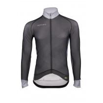 Vermarc zigzag fietsshirt met lange mouwen zwart grijs