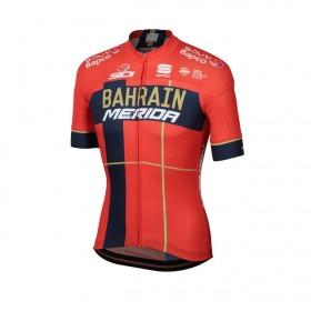 Sportful Bahrain Merida bodyfit team cycling jersey short sleeves red 2019