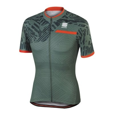 SPORTFUL Selva Jersey SS Green Olive Anthra Fire Red