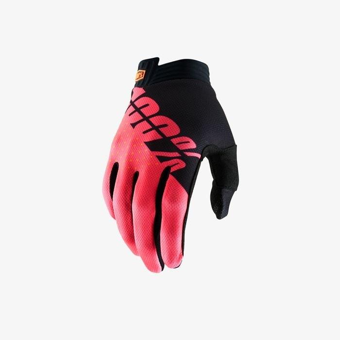 100% itrack mtb gants de cyclisme noir fluo rouge