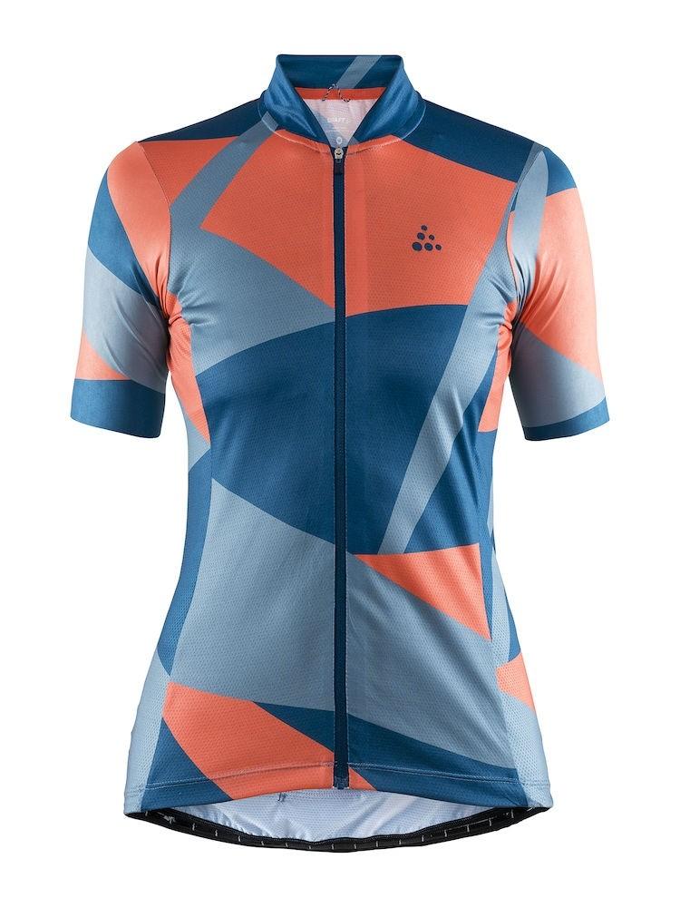 Craft hale graphic maillot de cyclisme manches courtes femme nox shore bleu orange