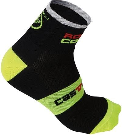 CASTELLI Rosso Corsa 6 Sock Black Yellow Fluo