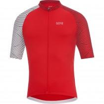 Gore C5 + optiline maillot de cyclisme manches courtes rouge blanc