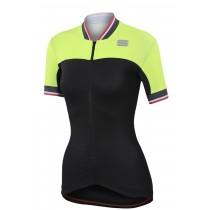 Sportful grace maillot de cyclisme manches courtes femme noir fluo jaune