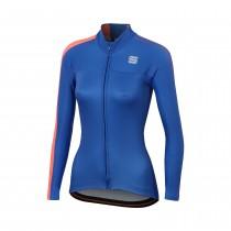 Sportful bodyfit pro w maillot de cyclisme femme manches longues cosmic bleu fluo rouge