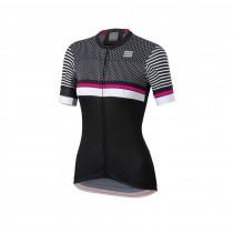 Sportful diva 2 maillot de cyclisme manches courtes femme noir blanc bubblegum rose