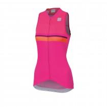 Sportful diva 2 maillot de cyclisme sans manches femme bubblegum rose victorian violet orange sdr