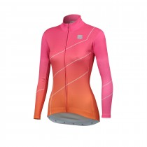 Sportful shade maillot de cyclisme à manches longues femme bubbel gum rose orange sdr
