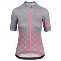 Agu sprinkle dot maillot de cyclisme à manches courtes femme gris neon coral rose