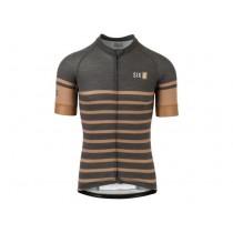 AGU six6 merino stripe maillot de cyclisme à manches courtes noir desert marron