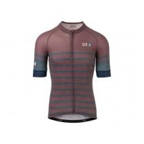 AGU six6 merino stripe maillot de cyclisme à manches courtes deep bleu fig